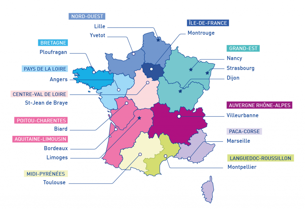 Carte de France des équipes relais handicaps rares couvrant l'ensemble du territoire