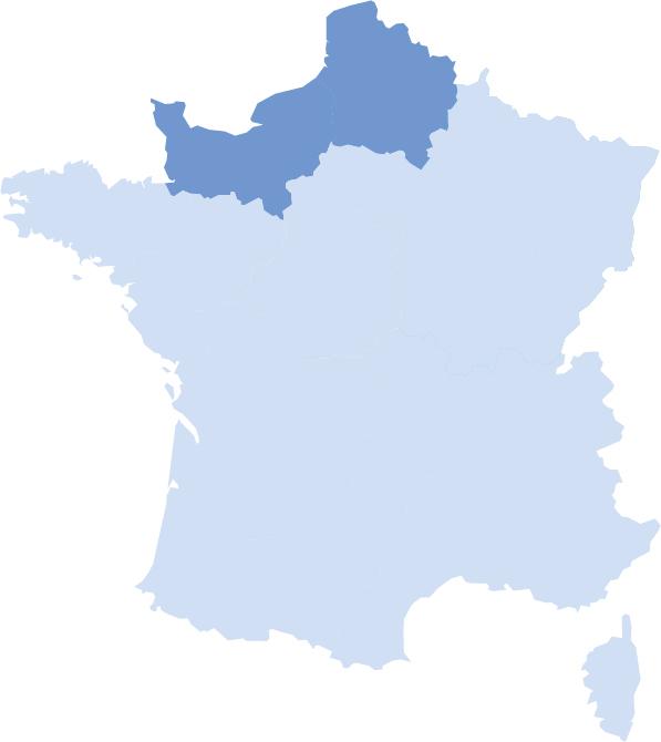 Carte de France avec les deux régions Normandie et Hauts-de-France mises en avant
