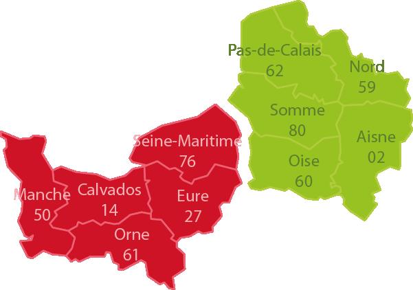 Carte des 10 départements où peut intervenir l'ERHR Nord-Ouest